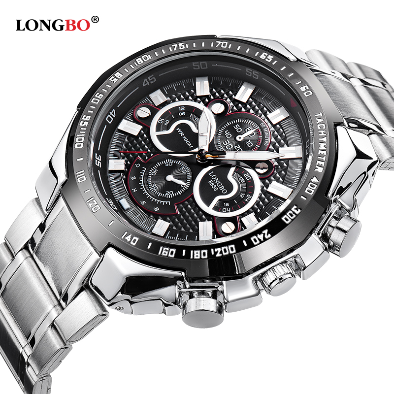 Longbo Military Men Stainless Steel Band Sports Quartz Watches Dial Clock For Men Male Leisure Watch Relogio Masculino 8830 yangte men watches waterproof quartz sports watch stainless steel clock male casual military wrist watch relogio masculino i88