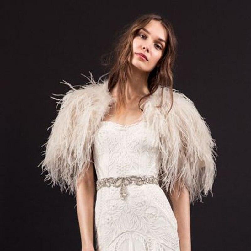 luxe ivoire hiver de fourrure dautruche plume manteaux de mariage bolros 2016 marie soire vestes capes boda chaquetas access - Bolero Plume Mariage