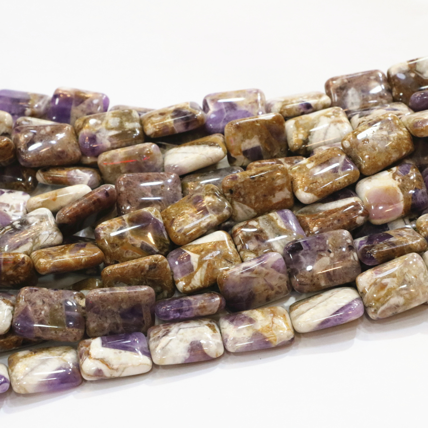 13x18 15x18mm Natural Stone Amethysts Loose Rectangle Bead Purple Crystal Beads For Jewels Making Necklace Bracelet 15inch B3288