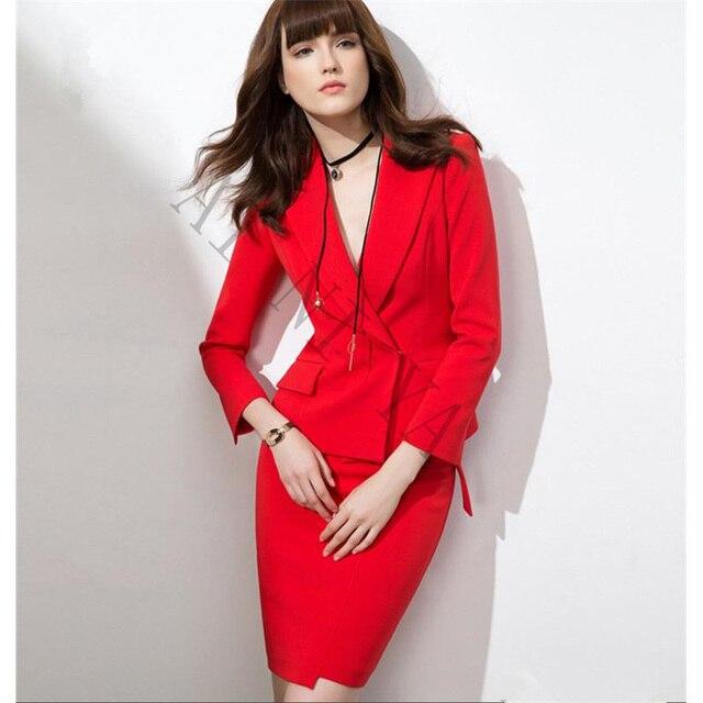5b12f9d07482 US $99.0 |Frauen Rock Anzüge Rot Elegante Formale Tragen Zu Arbeiten Büro  Zweireiher OL Jacke Blazer & Röcke Anzug 2 Stück Sets in Frauen Rock ...