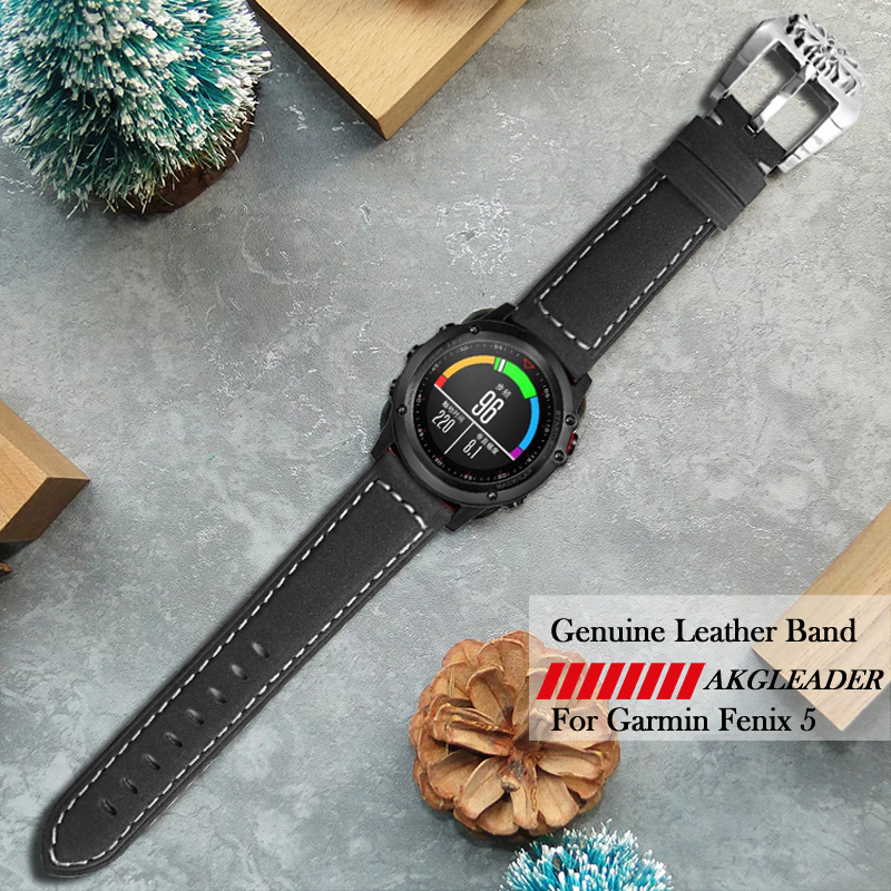 For Garmin Fenix 5 Watch Band Retro Carve Pattern Big Buckle+Genuine Leather Strap For Garmin Fenix 5 22MM Watch Band Watchband garmin fenix 5 sapphire black black band