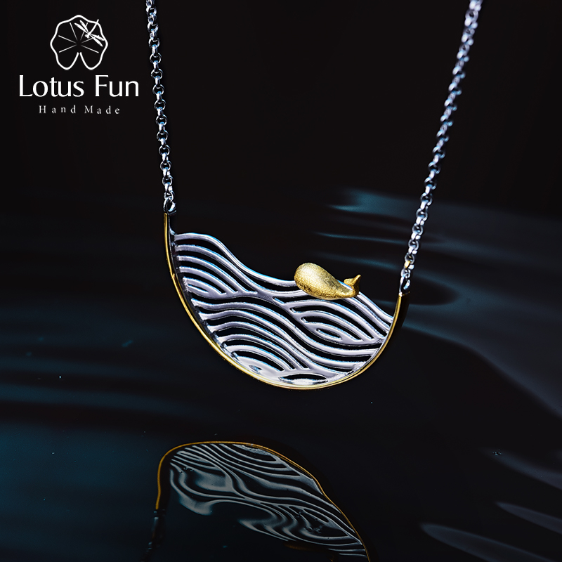 Lotus Fun Genuine 925 Sterling Silver Pendants Necklaces For Women Ocean Whale Multi-tone Gold Silver Chain Necklace Girl Gifts