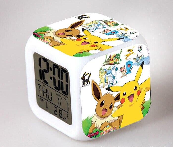 Free shipping Pocket Monster Pikachu LED 7 Color Flash Digital Alarm Clocks Kids Night Light Bedroom Clock reloj despertador(China)