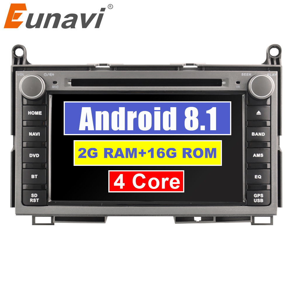 Eunavi 2 din Quad core Android 8.1 Car DVD For TOYOTA AVENSIS 7 inch Radio GPS Navi Stereo head unit Multimedia player in dash