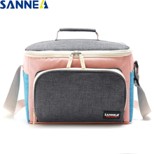 SANNE 9L new polyester Oxford thickening insulated cooler bag front with a pocket portable shoulder strap PEVA inner ice pack