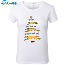 New Summer Fashion Funny Greyhound Dogs Christmas Tree Art T-Shirts Women Soft Cotton Printed White T Shirts Tops S1180
