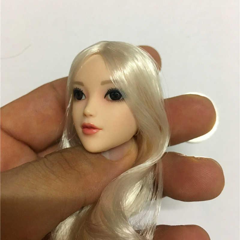 Pelo Largo marrón corto/blanco 1/6 ojo talla de cabeza cuerpo femenino, figura de acción juguetes calientes, muñeca y Phicen de 12 pulgadas de la colección Anime