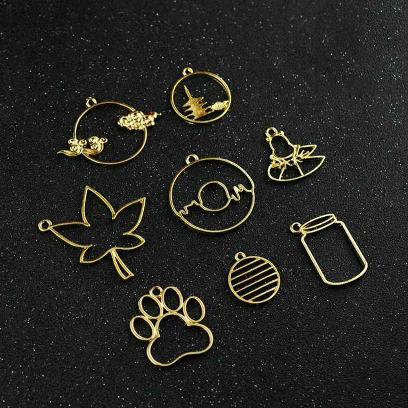 Metal Frame DIY Epoxy Resin Accessories Golden Floral Footprint Pond Creative Luxury Jewelry Necklace Pendant Supplies Gifts