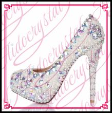 Aidocrystal very high heel white bridal wedding shoes with diamond pearl size 11 Customized Party Shoes Women Platforms