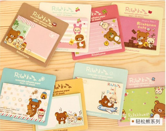 24pcs/lot NEW Rilakkuma Notepad sticky note Memo message post Removable adhesive paper Wholesale