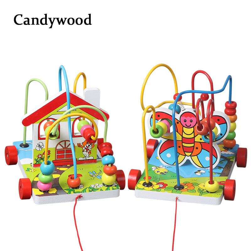 Candywood Kids Child Bead Roller Coaster Maze Puzzle Toy Wooden Bead Maze wood Early Educational Toy For Baby Kids Children Toy wooden bead maze activity center box multi function round beads box cube wood toys unisex kids multipurpose educational toy