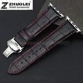 New arrivals genuine pulseira pulseira de couro apple watch de bambu modelo butterfly pulseira fivela 38 42mm contendo vinculador