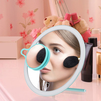 LED Lighted Makeup Mirror with Stand Desk Cosmetic Mirror USB Rechargeable Cosmetics Tool with 3X Magnifying Mirror