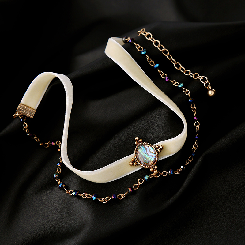 new necklace Double Chains White Velvet Choker Necklace Mixed-Color Brand Party Jewelry Women