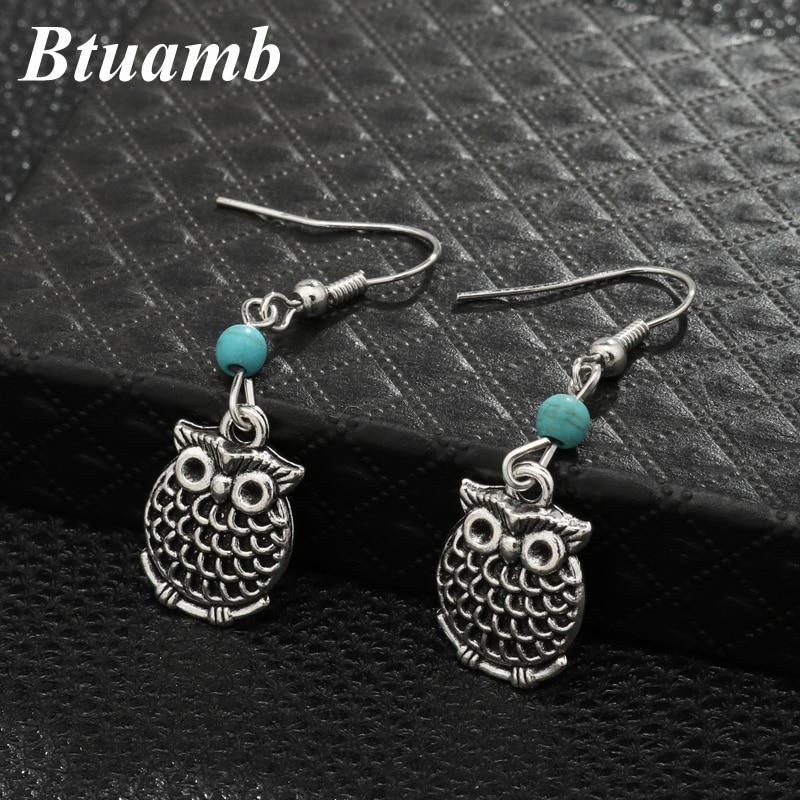 Btuamb Punk Bohemian Big Owl Animal Dangle Earrings for Women Tribal Jewelry Vintage Beads Carved Earrings Femme Bijuterias(China)