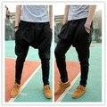Hombres pantalones harem delgado ocasional pantalones largos masculinos pantalones harem gota entrepierna pantalón hip hop más los pantalones del tamaño grande 853931