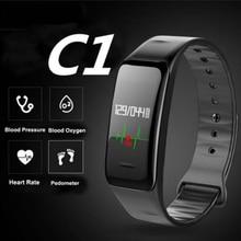 Colour Display Sensible Band C1 watches Blood Strain Coronary heart Price reloj pulsometro montre podometre Health Bracelet pk fitbits xiomi