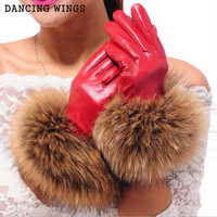 High grade Women's Winter Sheepskin Gloves Real Raccoon Fur Genuine Leather Gloves Female Black Red