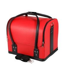 Многофункциональный Кожаный Ящик Для Хранения для Женщин Подарки, Мода 3-слойный Косметическая Организатор Box Профессиональный Случай Макияж Organizador