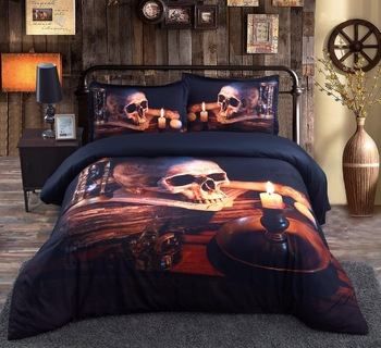 Royal Linen Source Brand 3PCS PER SET New latest Retro Skull design 3d HD printed Skull Bedding Set