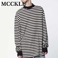 MCCKLE Fashion Hi-Street Mens Extended Hip Hop T Shirt Oversized Streetwear Longline Tshirt Long Sleeve Striped Tees For Male