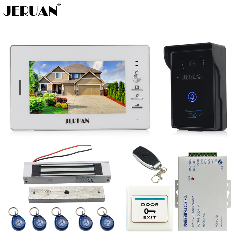 JERUAN 7`` TFT color video door phone intercom system kit RFID touch key waterproof Camera 180KG Magnetic lock tamper alarm jeruan wired 7 touch key video doorphone intercom system kit waterproof touch key password keypad camera 180kg magnetic lock