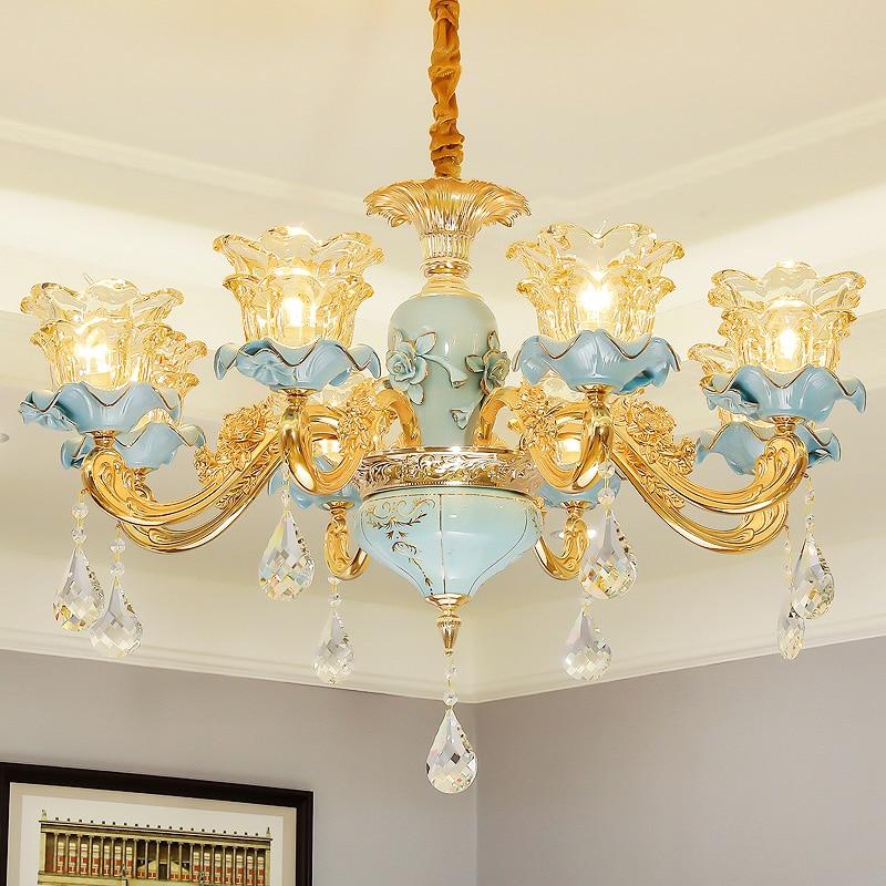 Dining Room Modern Crystal Chandeliers: European Chandelier Villa Living Room Atmospheric Gold