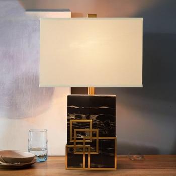 북유럽 패브릭 전등 갓 테이블 램프 전등 자연 블랙 cuboid 대리석 기본 책상 조명 e27 실내 조명 침실