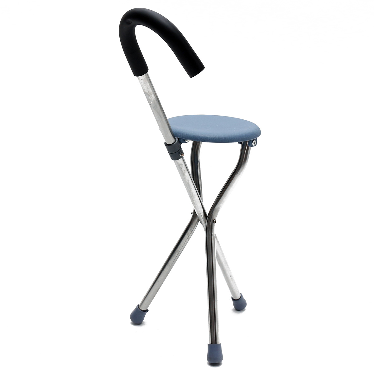 Folding Walking Chair Rest Stool Iron Walking Stick Plastic Seat Non Slip Tripods Cane For Elder Outdoor Hiking Climbing Crutch