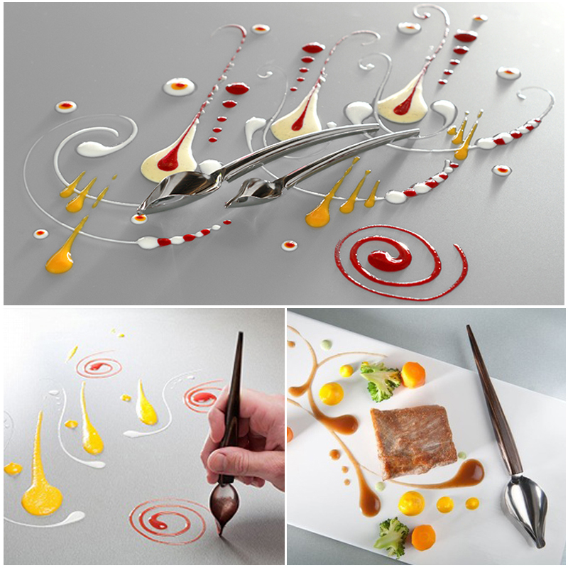 Us 2 39 25 Off Stainless Steel Cake Decoration Tool Pen Shape Cupcake Plate Decor Spoon Pastry Flower Drawing Kit Kitchen Accessories Supplies On