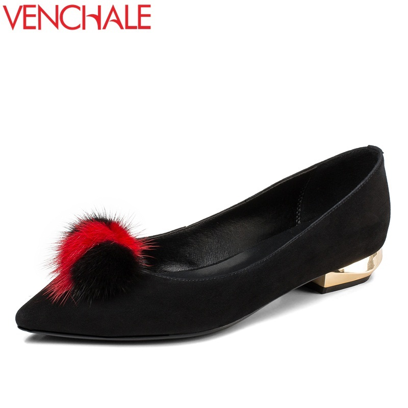 VENCHALE women shoes real sheepskin kid suede genuine leather pointed toe pumps low heel shoes fur decoration fashion pumps 42CN venchale two heels options sheepskin