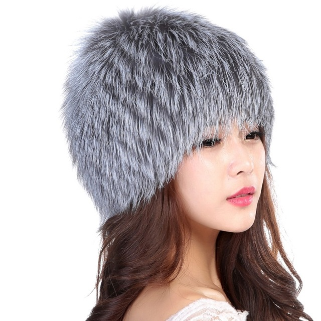Wholesale Women Winter Hat Female Real Knitted Fox Fur Hat Fashion Hat Brand Autumn Warm Russian Beanie Fur Hats Solid Color