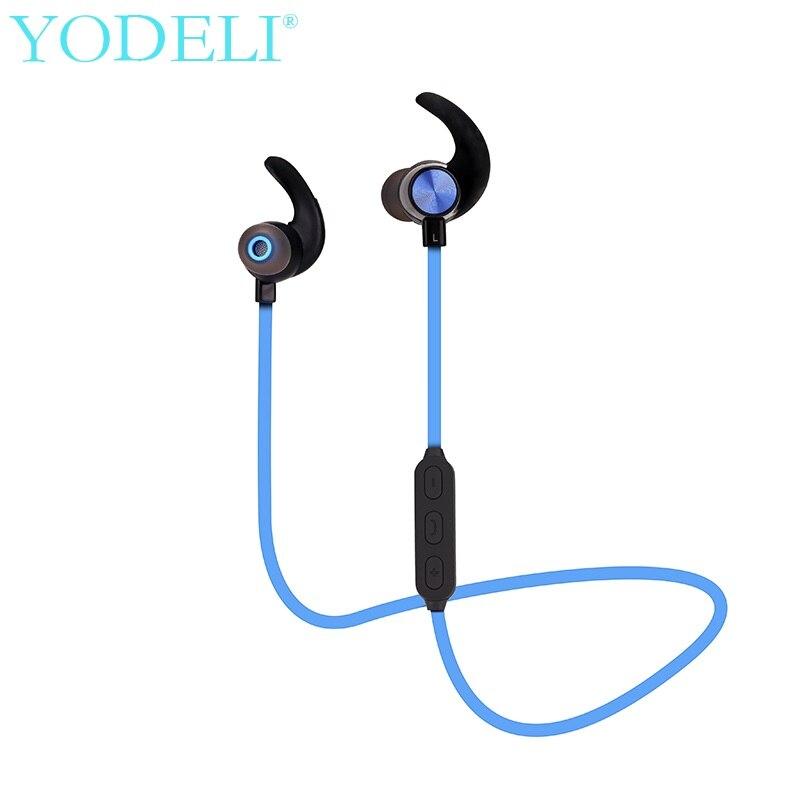 YODELI Bluetooth Headset Metal Wireless Stereo Earphone Headphones with Microphones Sports Sweatproof Earbud for Mobile <font><b>Phones</b></font>
