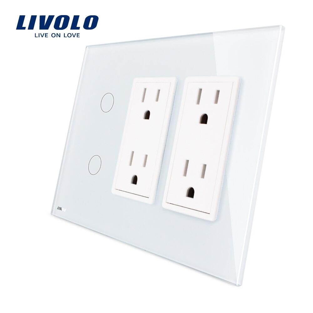 Livolo США Стандартный Вертикальный, 2 Gang + двойной разъем (15A), роскошный белый кристалл стекло, VL-C502-11/C5C4US-11
