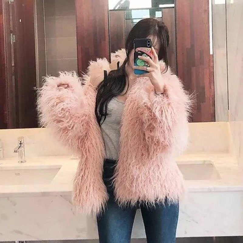 De Femmes Élégant Nuw285 Tempérament 2019 Pink Solide Nouveau Et Light Veste Mode Manteau D'hiver Couleur Chaud milky Fausse Fourrure ZPtnSqxXZ