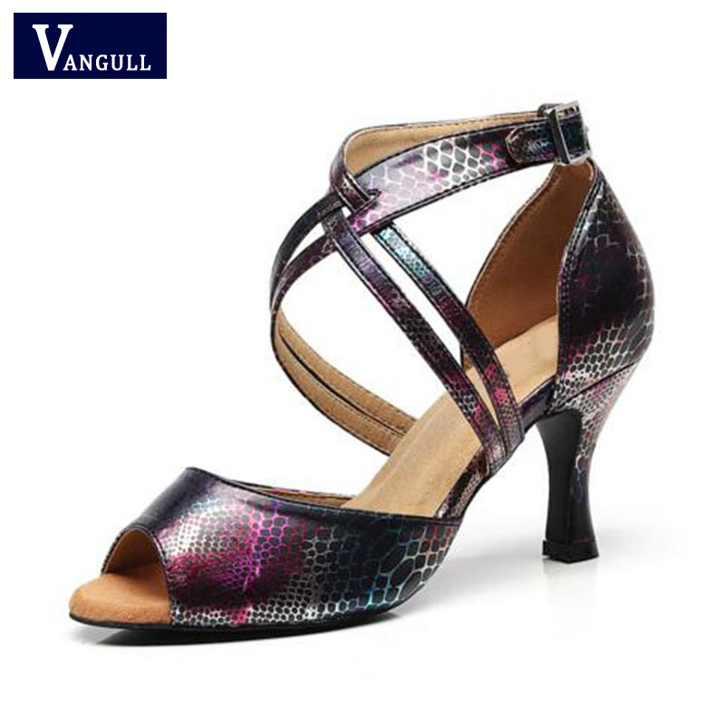 Vangull Sexy Snakekin Grain Peep Toe Womens Sandals High Heel Black Printed Latin Dance Shoes Dancing Outdoor Casual Shoes Elegant And Sturdy Package Shoes