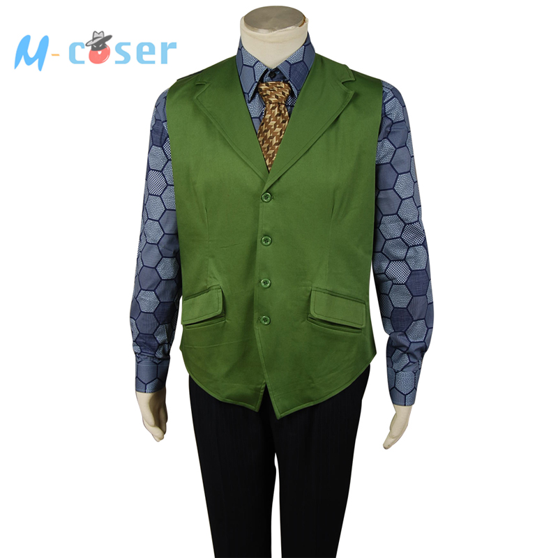 Batman The Dark Knight Joker Hexagon Style Movie Halloween Cosplay Costume For Adult Men Green Vest+Blue Shirt full set