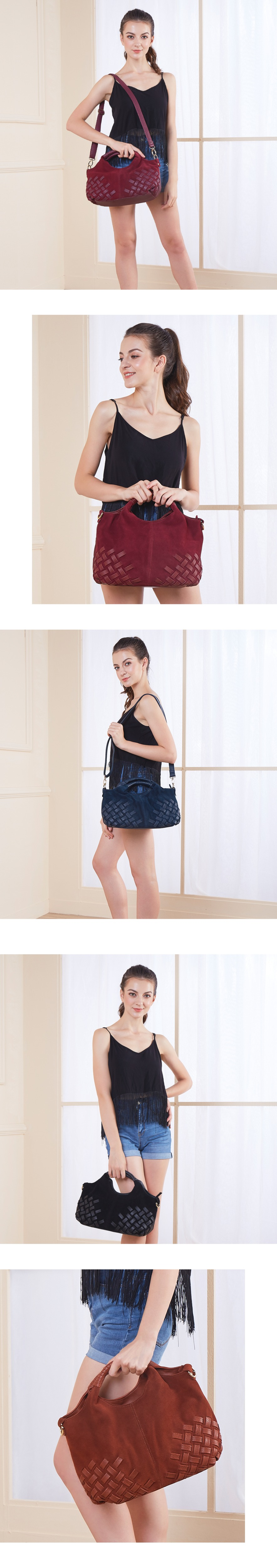 Aliexpress.com   Buy Latest Women Weave Suede Split Leather Handbag ... 507c6a95e6fc1
