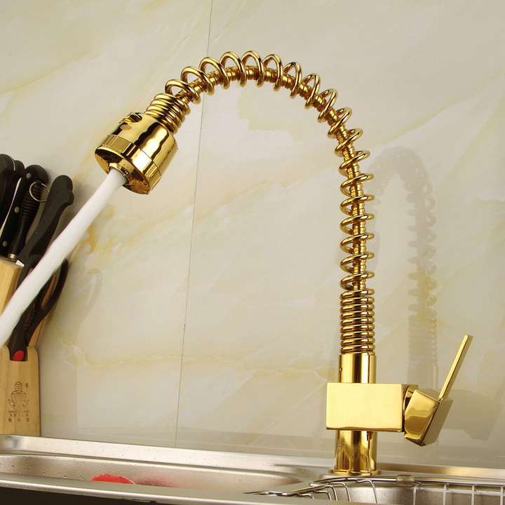 Free ship Pull Out Gold Plate Kitchen Faucet Single Lever Single Hole Mixer Tap