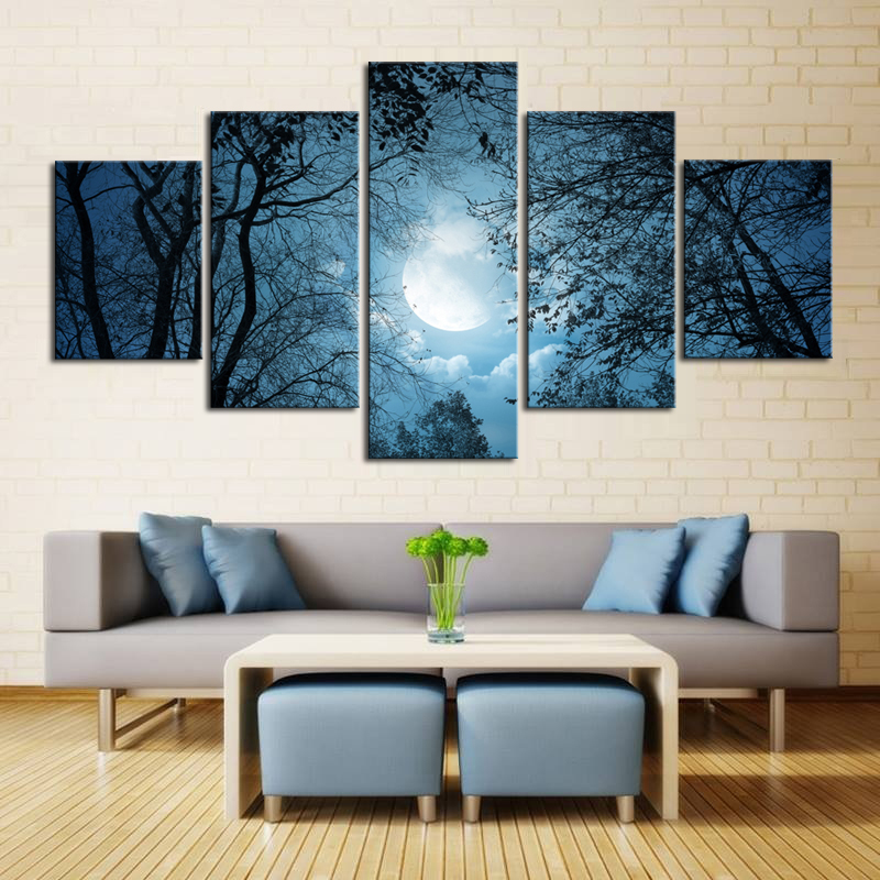 5 Piece Wall Canvas Art Silent Moon Light Night Full Paintings Forest Scenery Dark Blue