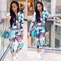 Novo Projeto do Outono Geométricas Mulheres Impressão Digital 2 Peças Set Calças Compridas Ternos Moda Casual Mulheres Definir