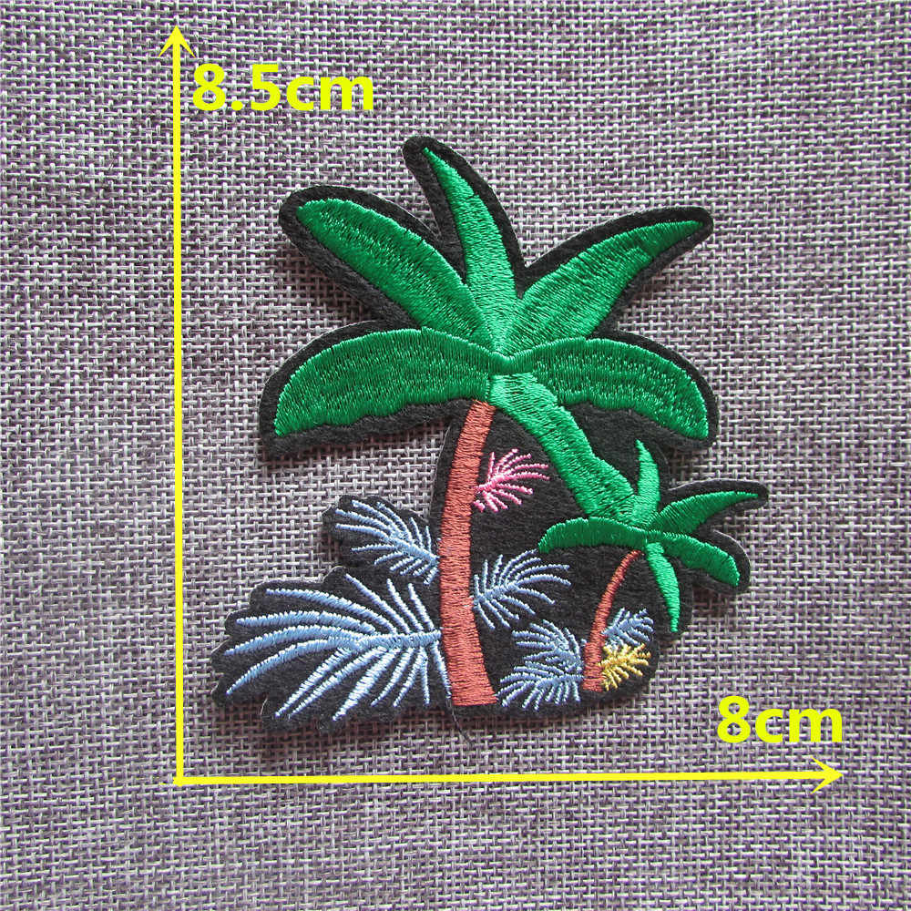 Kokosnotenpalm ijzer op Flarden geborduurde Applique Patch Voor Kleding Grote Streep Cartoon stickers DIY Jean Zak Hoed Accessoire