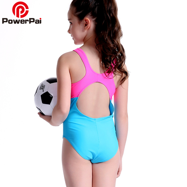 bb1d09d03 Powerpai خليط الفتيات ثونغ قطعة واحدة ملابس السباحة 2018 المهنية لل أطفال  صغار طالب القطار المايوه