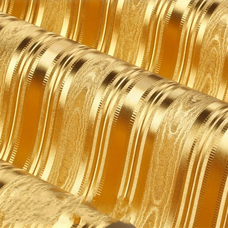 Beibehang Gold Wallpaper KTV Box Hotel Bar Cafe Modern Vertical Stripes Golden Yellow Gold Background Wallpaper Papel De Parede