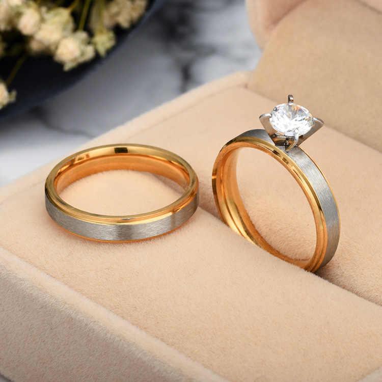 Zircon คู่แหวนเงินงานแต่งงานแหวนสำหรับสตรีและผู้ชายแหวนหมั้นแหวน Bague Femme