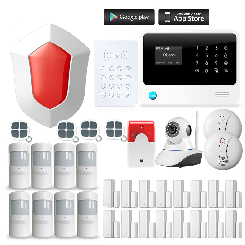 Wireless GSM Home RFID Burglar Security WIFI GSM Alarm System Sensor kit English Russian Spanish Voice wireless sim gsm home rfid burglar security lcd touch keyboard wifi gsm alarm system sensor kit english russian spanish french