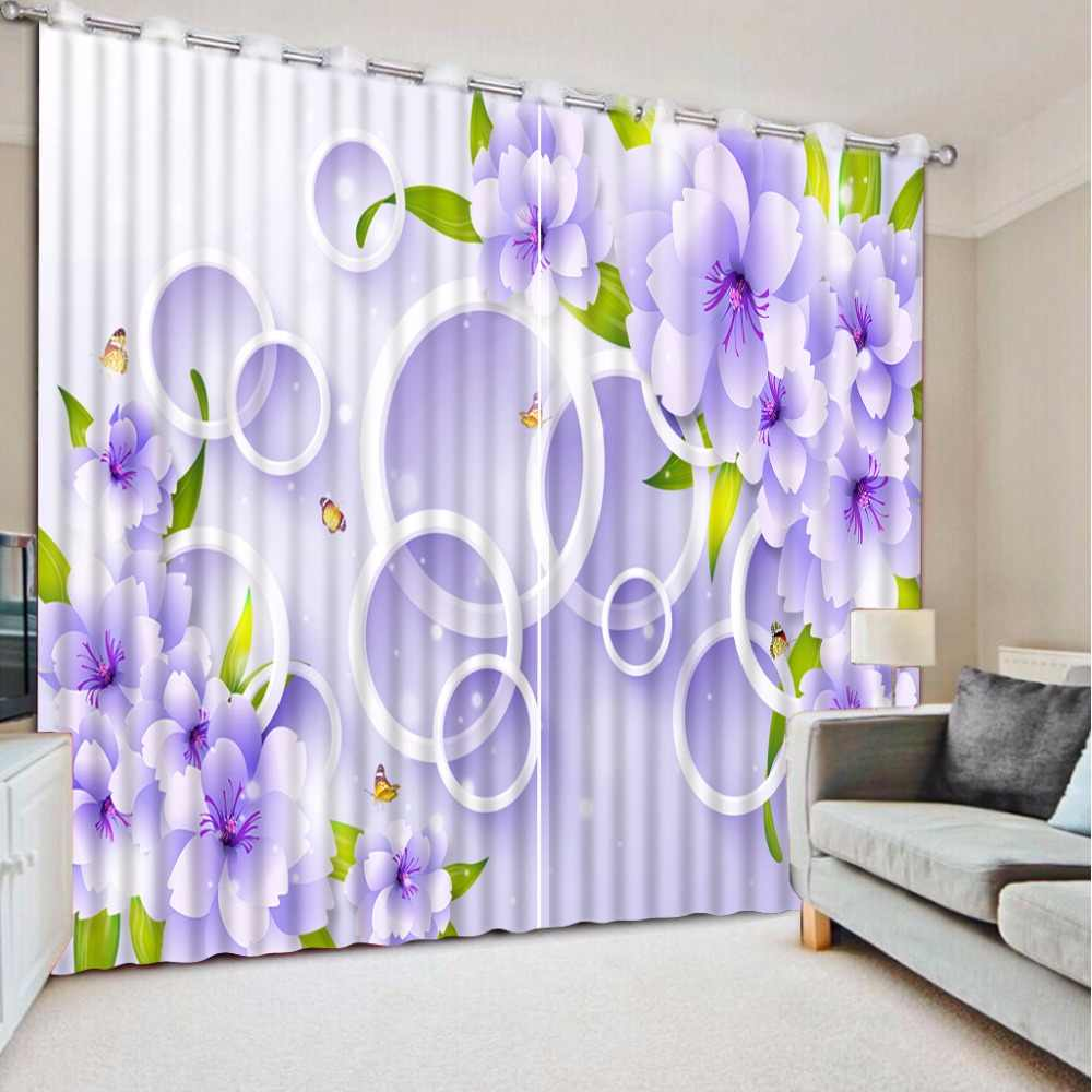 Customized Modern Curtains Photo Circle Flower Curtains For Living Room Blackout Polyester Cotton Curtains Purple Drapes