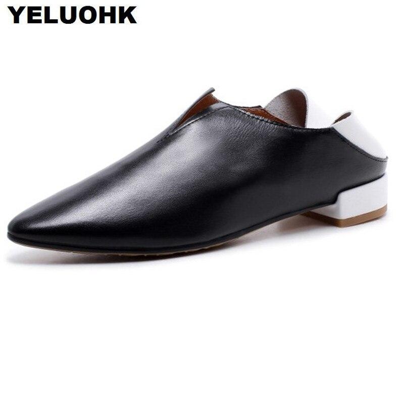 En Femmes Mocassins Pointu white Dames Black Grande Cuir 43 Confortable Bout Taille Casual Chaussures Printemps Appartements pqfwUHXtg