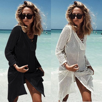 2019 Sexy Bikini Crochet Cover up Beach Dress Hollow Out Crochet Knit Bikini Dress Beach Wear Ladies Swimwear Tunic Beach Dress crochet insert hollow out beach cover up