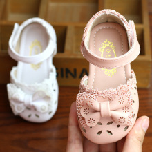 Baby Sandals Girls Baby Summer 0-1-3 Years Non-slip Soft Bottom Girl Princess Shoes Toddler Shoes Bowtie Hollow Out Sandals(China)